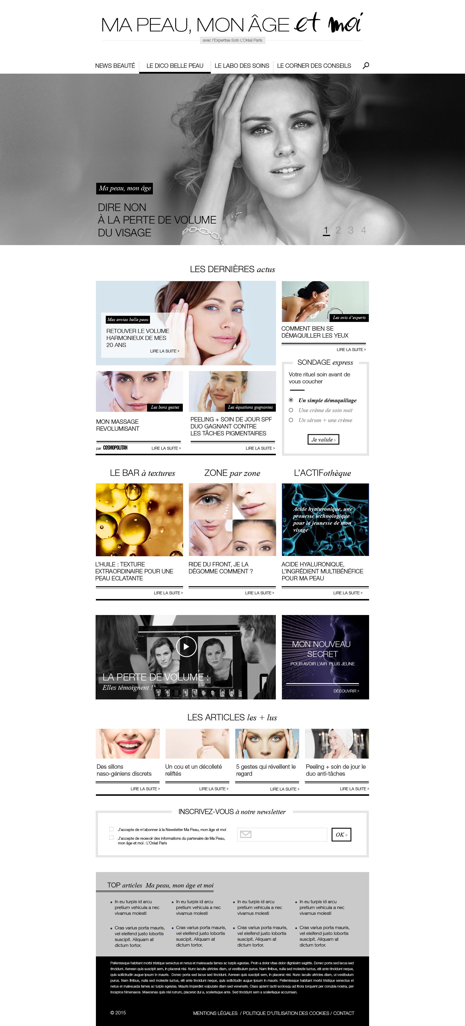Ma peau mon âge et moi - Homepage version desktop
